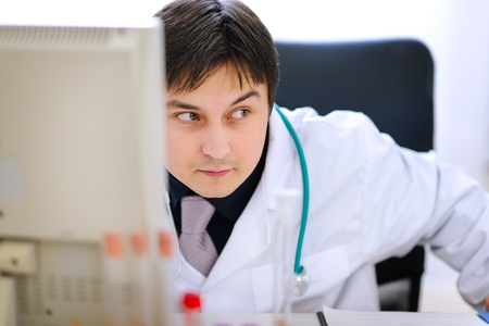 planned: Sly medical doctor planned something wrong  Stock Photo