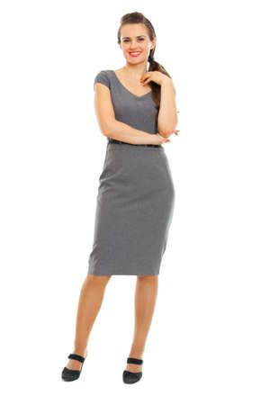 Full length portrait of smiling female employee Stock Photo