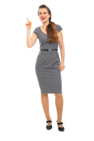 got: Full length portrait of business woman got idea
