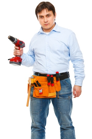 certitude: Construction worker with electric screwdriver