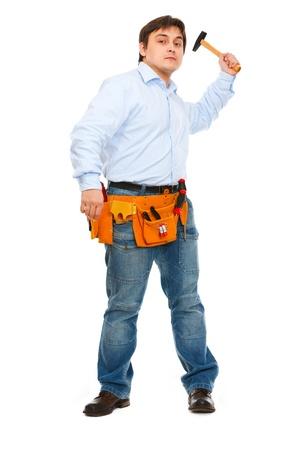 brandishing: Construction worker brandishing hammer Stock Photo