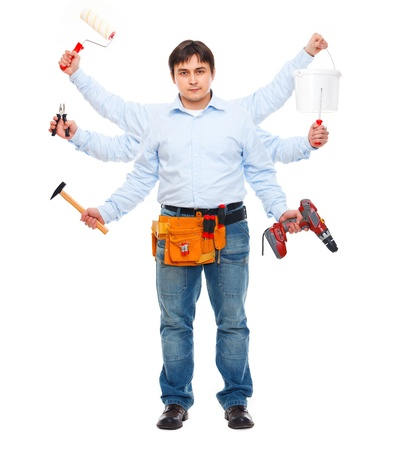 multipurpose: Construction worker with six hands. Do-all man concept Stock Photo