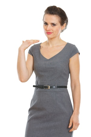 malcontent: Business woman showing not good gesture Stock Photo