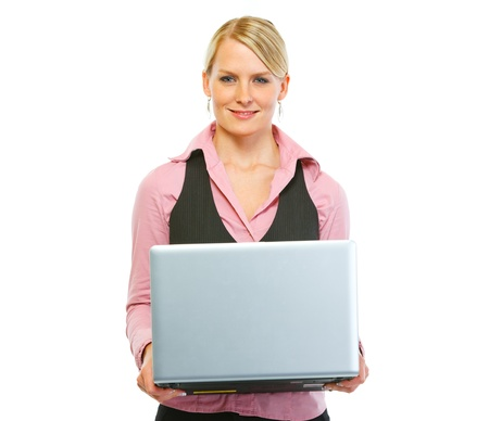 Happy woman employee holding laptop photo