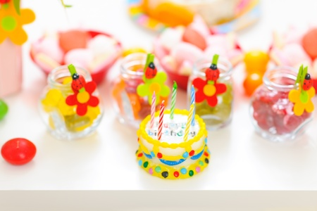 Closeup on table decorated for child birthday celebration Stock Photo - 12711735