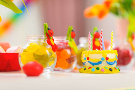 Closeup on table decorated for baby birthday party Stock Photo - 12711738