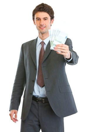 batch of euro: Modern business man showing pack of euros