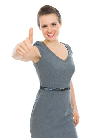 Modern business woman showing thumbs up Stock Photo - 12930608
