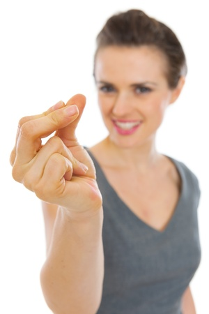 snapping fingers: Woman snapping fingers Stock Photo