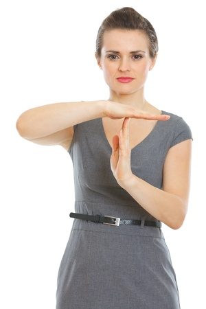 certitude: Modern business woman showing break gesture Stock Photo