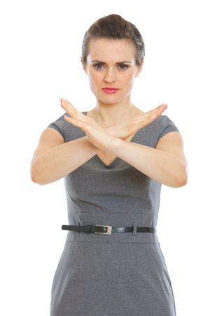 authoritative woman: Modern business woman showing stop gesture