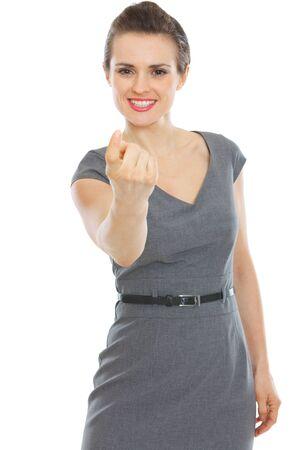 beckon: Modern business woman beckoning with finger