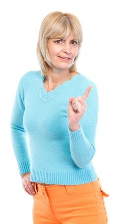 Middle age woman threatening finger photo