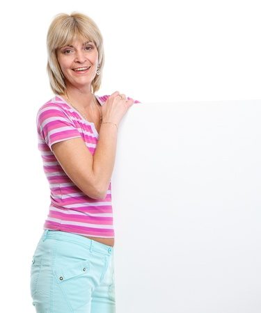 Happy middle age woman holding blank billboard Stock Photo - 13008773