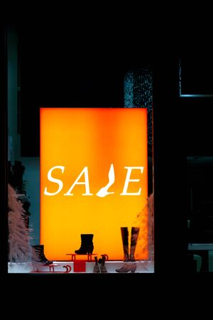 selloff: Storefront with sale inscription Stock Photo