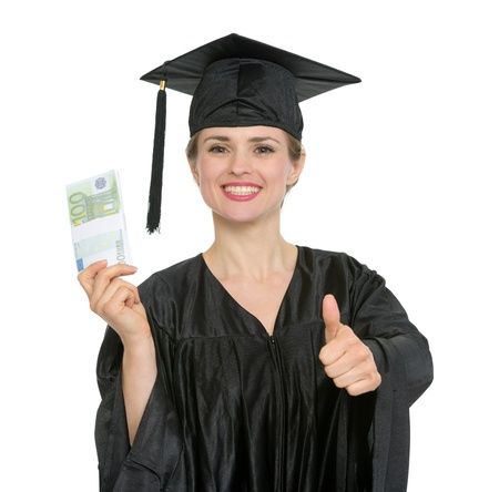 batch of euro: Smiling graduation student woman with pack of euros showing thumbs up.