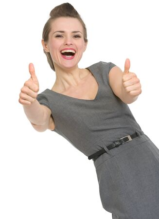Happy woman showing thumbs up. HQ photo. Not oversharpened. Not oversaturated Stock Photo - 13407574