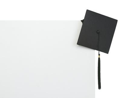 Graduation cap on blank billboard photo