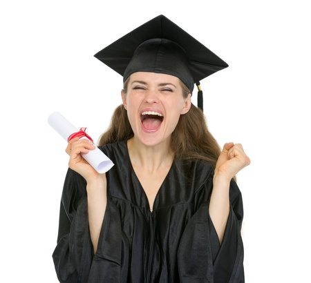 college graduation: Excited graduation student girl with diploma Stock Photo