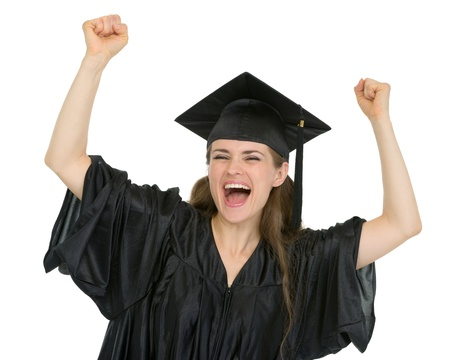 Excited girl student rejoicing graduation Stock Photo - 13523575