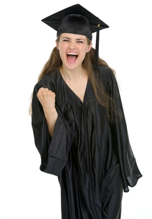Smiling graduation student woman showing yes gesture photo