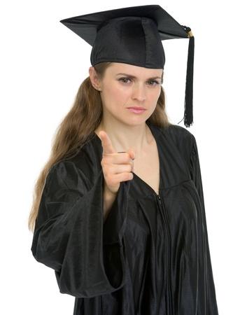 stringent: Graduation student girl threatening finger Stock Photo