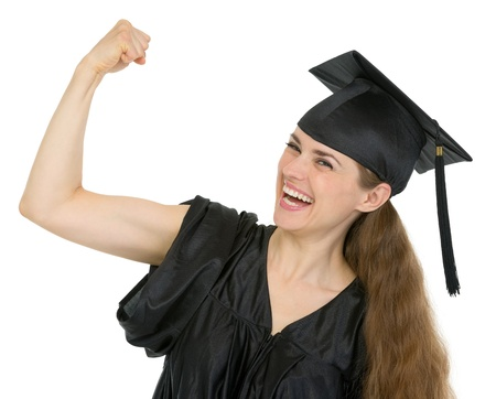 Graduation student woman showing biceps Stock Photo - 13523621