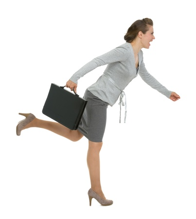 excitation: Running modern business woman with briefcase