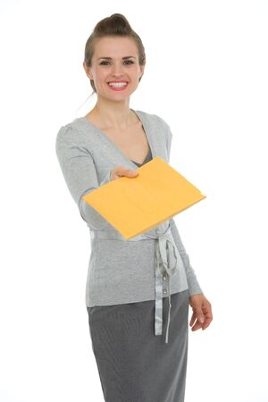 Happy woman giving letter Stock Photo - 13611552