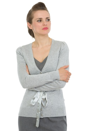 authoritative woman: Business woman with crossed arms looking on copy space Stock Photo