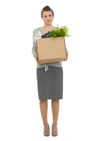 disquieted: Concerned woman employee holding box with personal items