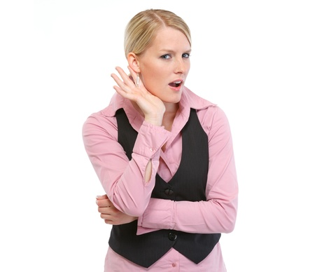 Cuus woman trying to hear something Stock Photo - 14003043