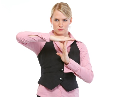 certitude: Woman employee showing break gesture