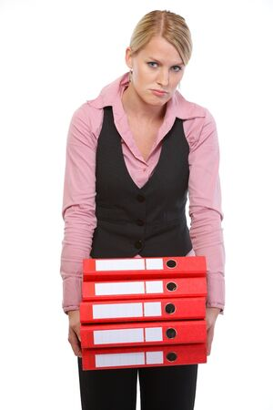 Tired woman with stack of folders photo