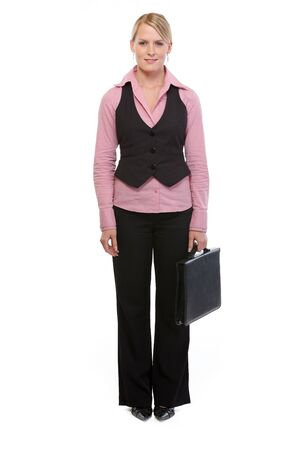 Full length portrait of employee woman with briefcase photo