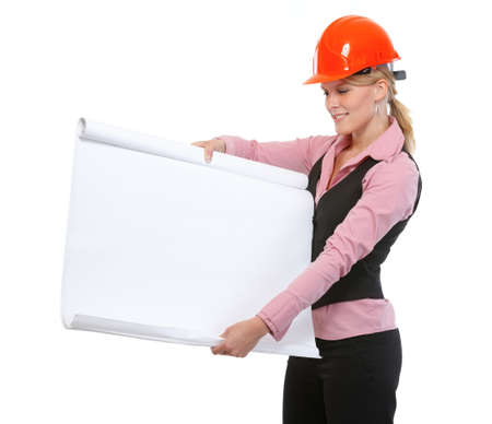 Modern architect woman showing blank flip chart photo