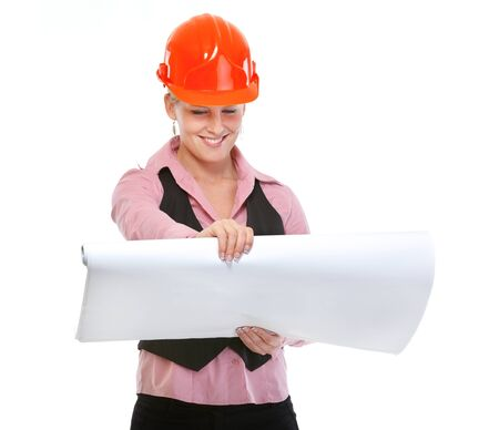 Modern architect woman looking on plans photo