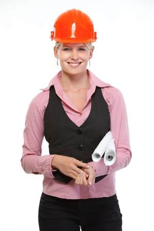 Smiling architect woman with flip charts photo