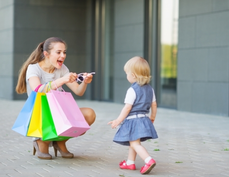 Mother and baby on shopping photo