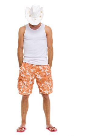 flip flops: Full length portrait of on vacation man in shorts and holiday hat Stock Photo