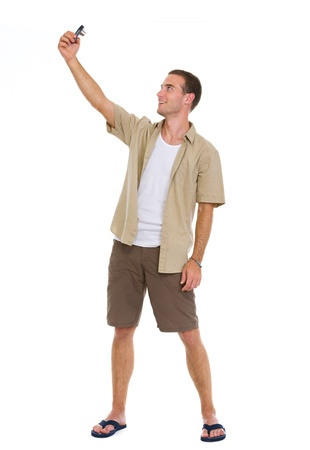 Happy tourist making photos of himself Stock Photo - 14529596