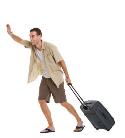 Happy tourist with wheels bag hurry to airplane Stock Photo - 14529584