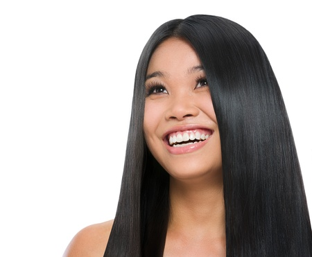 Beauty portrait of smiling asian girl healthy long straight hair isolated on white Stock Photo - 14596572