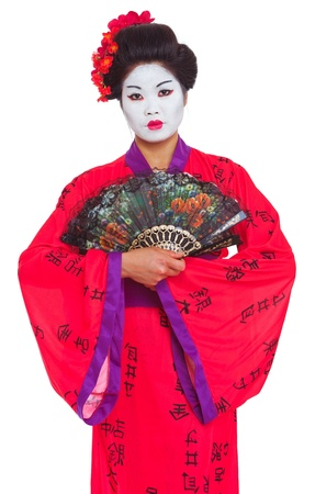 Portrait of geisha with fans isolated on white photo