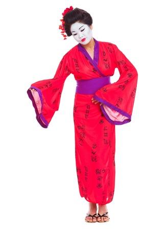 invitando: Retrato de cuerpo entero de las geishas invitar con aislados en blanco