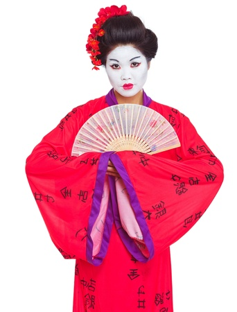 geisha: Portrait of geisha with fan isolated on white Stock Photo