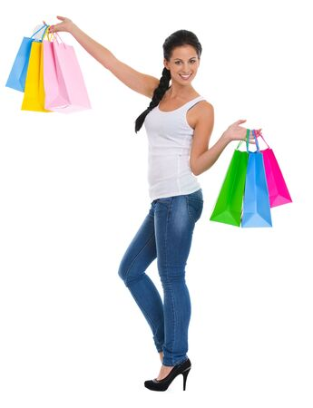 Full length portrait of happy girl with shopping bags Stock Photo - 14634486