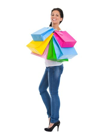 Full length portrait of happy girl with shopping bags Stock Photo - 14634480