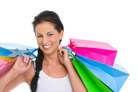 Portrait of smiling girl with shopping bags Stock Photo - 14634497