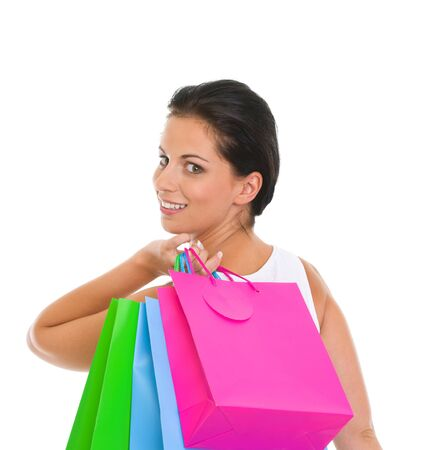 Portrait of smiling girl with shopping bags Stock Photo - 14634483